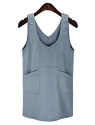 Mulheres Reto Vestido,Tamanhos Grandes Vintage Sólido Com Alças Acima do Joelho Sem Manga Azul Linho Verão