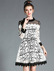 AOFULI Plus Size Women Autumn SeeThrough Embroidered Lace Color Block Elegant Party Dress
