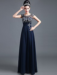 Formal Evening Dress A-line Jewel Floor-length Chiffon with Embroidery / Pleats / Crystal Brooch