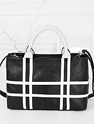 Women PU Casual Business Black And White Lines Striped Crocodile Pattern Shoulder Tote  Bag