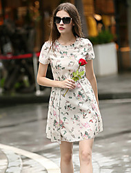 Boutique S  Women's Going out Cute Skater Dress,Floral Round Neck Above Knee Short Sleeve White Others Spring