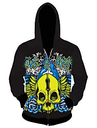 3D  Hoodie Long Sleeve Green Skull Printing Clothing