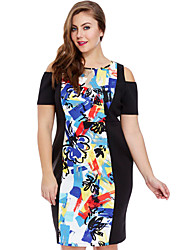 Women's  Abstract Print Cold Shoulder Curvy Dress