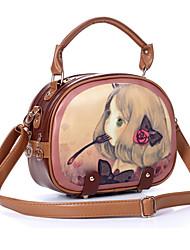 las mujeres de la PU de asas exterior ocasional de las compras dulce chica impresión de la historieta de la vendimia bolsa de mensajero