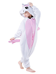 Kigurumi Pajamas Unicorn Leotard/Onesie Festival/Holiday Animal Sleepwear Halloween Pink Blue Patchwork Coral fleeceCosplay Costumes