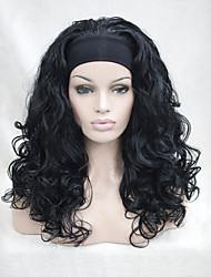 New fashion 3/4 wig with headband Black wavy long synthetic women's half wigs