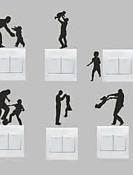 AYA™ Set of 6 DIY Creative Dad and Kids Switch Stickers Wall Decor