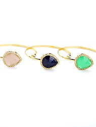 Bohemian Rhinestone Cuff Bracelets Golden Candy Color Bracelet Fashionable Geometric Alloy Jewellery(Random Color)