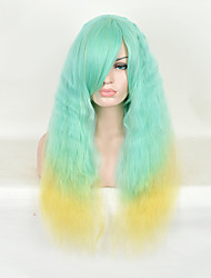 New Arrival Popular Top Quality Green Yellow Mix Color Long Straight Synthetic Wigs
