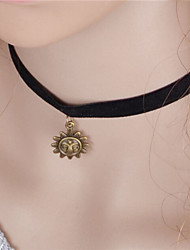 Fashion Vintage Gothic Black Fabrics Sun Pendant Necklace False Collar Jewelry Women Gift