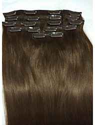 "15""#4 Medium Brown  Clip In Remy Real Human Hair Extensions   8Pcs/70g"