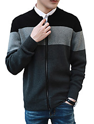 Men's Fashion Slim Stand Collar Spell Color Zipper Cardigan,Wool / Cotton Long Sleeve Black