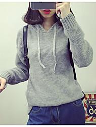 Damen Standard Pullover-Lässig/Alltäglich Niedlich Solide Rot / Grau / Lila Mit Kapuze Langarm Acryl Frühling / Winter Mittel