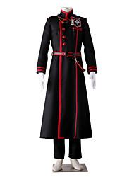 geinspireerd door D.Gray-man Kanda Yuu Anime Cosplay Kostuums Cosplay Kostuums Kleurenblok Zwart / Rood Lange mouwJas / Broeken / Riem /