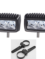 "10W CREE 2X LED Work Light Bar Driving Truck Parts Lamp + 2"" 2X Mount Brackets"