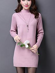 Damen Hülle Kleid-Lässig/Alltäglich Einfach Solide Rollkragen Übers Knie Langarm Rosa / Beige / Schwarz / Grau Kunstseide Winter