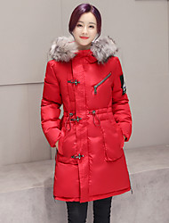 Women's Solid Red / Black / Green Parka Coat,Street chic Hooded Long Sleeve