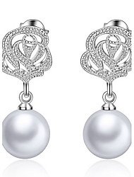 Drop Earrings Pearl Silver Plated Vintage Fashion Round White Jewelry Daily Casual 1 pair