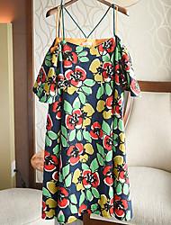 Women's Beach Cute Sheath Dress,Floral Strap Knee-length ½ Length Sleeve Green / Orange Polyester Summer