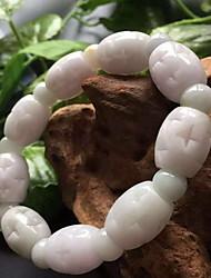 Strand Bracelets 1pc,White Bracelet Vintage Oval 514 Jade Jewellery