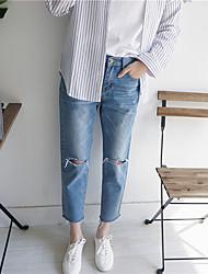 Pantalon Aux femmes Short / Jeans simple / Chic de Rue Coton Non Elastique
