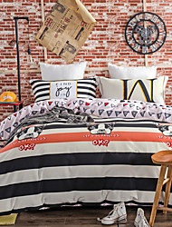 Striped 800TC bedding sets Queen King size Bedlinen printing sheets pillowcases Duvet cover sanding Cotton Fabric