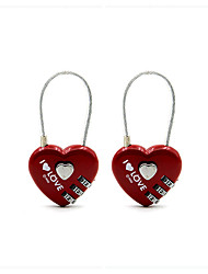 2pcs Red heart shaped lock love coded lock