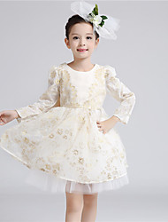 A-line Knee-length Flower Girl Dress - Cotton / Satin / Tulle Long Sleeve Jewel with Bow(s) / Pattern / Print