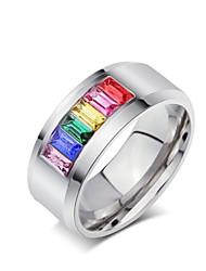 Anéis Estilo Casual Jóias Aço Titânio Masculino Anéis Grossos 1pç,5 / 6 / 7 / 8 / 9 / 10 / 11 / 12 / 13 Prateado