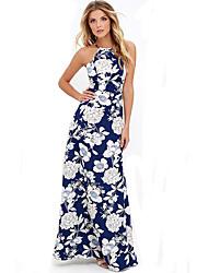 Women's Beach Boho Sheath Dress,Floral Strap Maxi Sleeveless Blue Cotton Summer