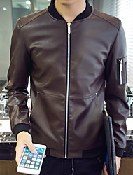 Men's Long Sleeve Casual / Work / Formal / Sport / Plus Sizes Jacket,PU / Polyester Solid Black / Blue / Brown