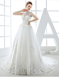 Ball Gown Wedding Dress Court Train Jewel Tulle with Appliques / Beading