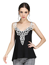 Women's Casual/Daily Summer Tank Top Sexy Backless Lace Patchwork V Neck Sleeveless Slim Chiffon Vest