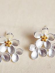White Daisy Flower Stud Earrings