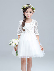A-line Knee-length Flower Girl Dress - Cotton / Lace / Tulle Half Sleeve Jewel with Flower(s) / Sash / Ribbon