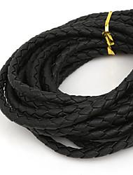 beadia cinco milímetros rodada preto trançado cordão de couro PU corda (4mts)