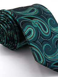 Men's Paisley Green Tie 100% Silk Business Dress Casual Long
