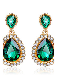Women's Elegant Green Emerald AAA Zircon Crystal Drop Earrings for Wedding Party, Fine JewelryImitation Diamond Birthstone