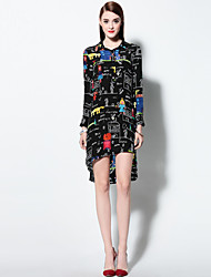 Boutique S Women's Going out Sophisticated  Dress,Print Shirt Collar Above Knee Long Sleeve Black Silk Spring / Summer