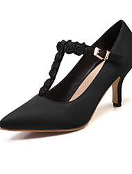 Women's High-Heels Soft Material Solid Buckle Pointed Closed Toe Pumps-Shoes