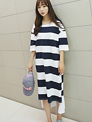 Women's Going out Simple Shift Dress,Striped Round Neck Asymmetrical ½ Length Sleeve Blue Cotton Summer