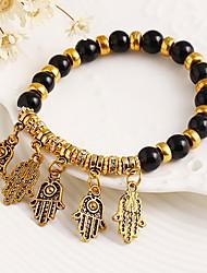 Strand Bracelets 1pc,Black / White / Blue / Purple Bracelet Vintage Circle 514 Alloy Jewellery