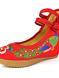 Women's Shoes Canvas Spring / Summer / Fall Mary Jane / Comfort Flats Casual Flat Heel Buckle / Flower Black / Blue