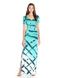 Mulheres Bandagem Vestido,Festa/Coquetel Sensual Estampado Decote V Longo Sem Manga Azul Acrílico Verão