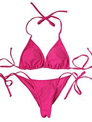 Bikinis Aux femmes Couleur Pleine / Rétro Licou Nylon / Spandex