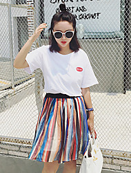 Women's Casual/Daily Simple Summer Set Skirt,Print / Rainbow Round Neck Short Sleeve White Rayon Medium