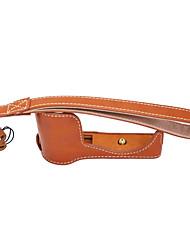 couro dengpin® pu metade Camera Bag caso base cover forsony A5000 a5100 (cores sortidas)