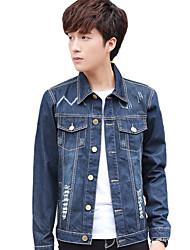 Men's Long Sleeve Casual / Work / Formal / Sport Jacket,Cotton Solid Blue