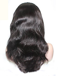 qualité supérieure 8-28inch vague de corps péruvien vierge de cheveux humaine couleur naturelle perruque avant de lacet pour les femmes