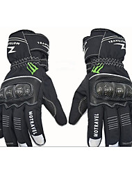 WPG01 Winter Ski Waterproof Warm Leather Carbon Fiber Motorcycle Riding Gloves